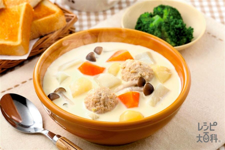 朝から満足!鶏だんごと野菜のミルクコンソメスープ