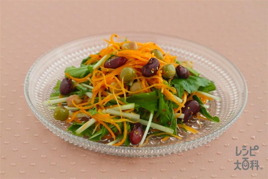 ミックスビーンズとにんじんと水菜のマスタードサラダ