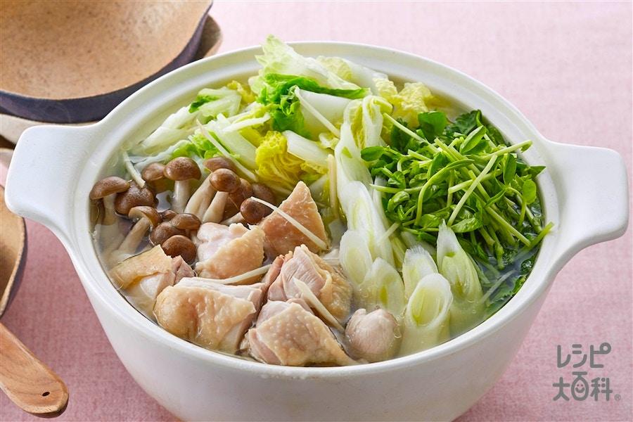 鶏肉と豆苗の鶏だし鍋