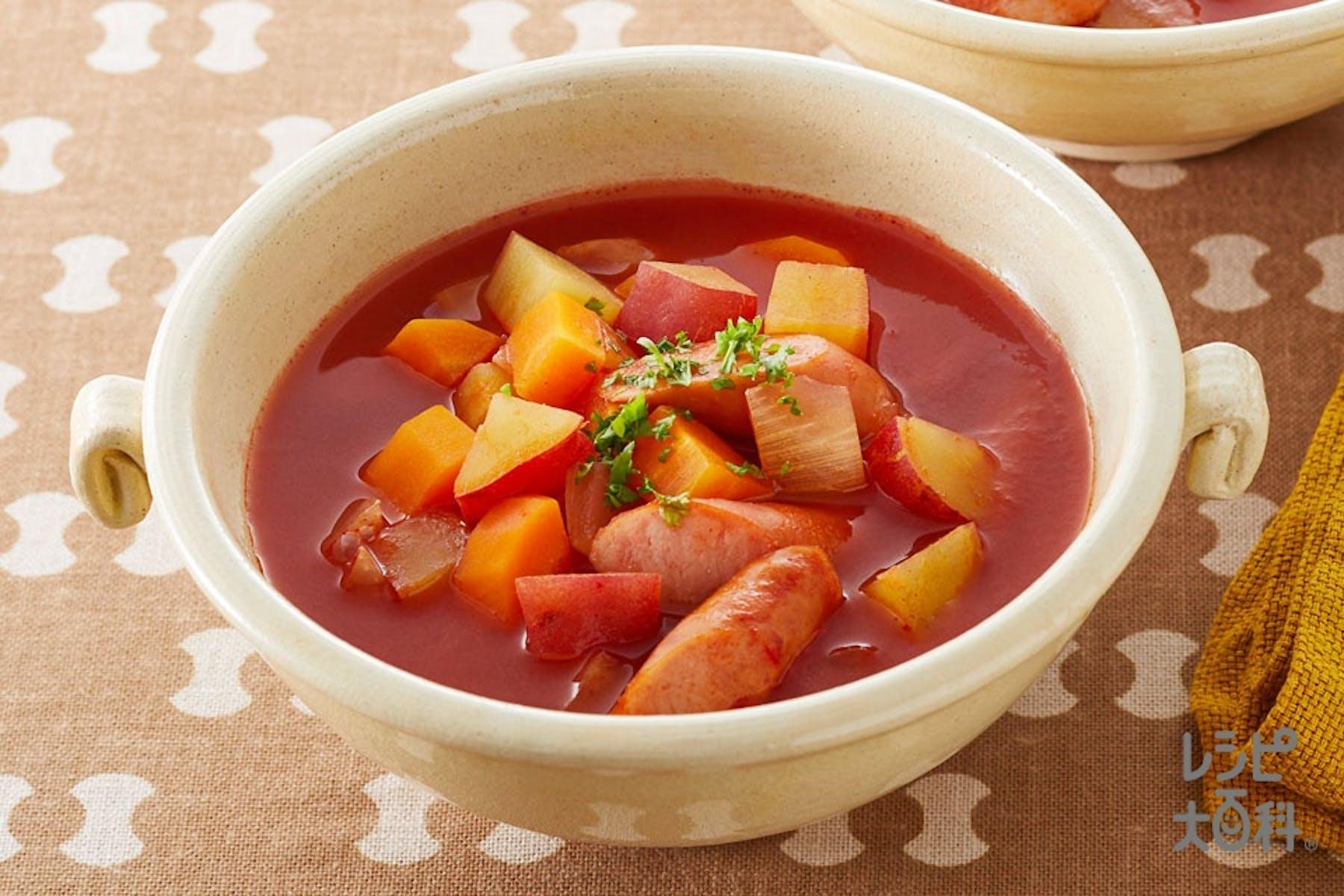 ミネストローネ風さつまいものスープ野菜