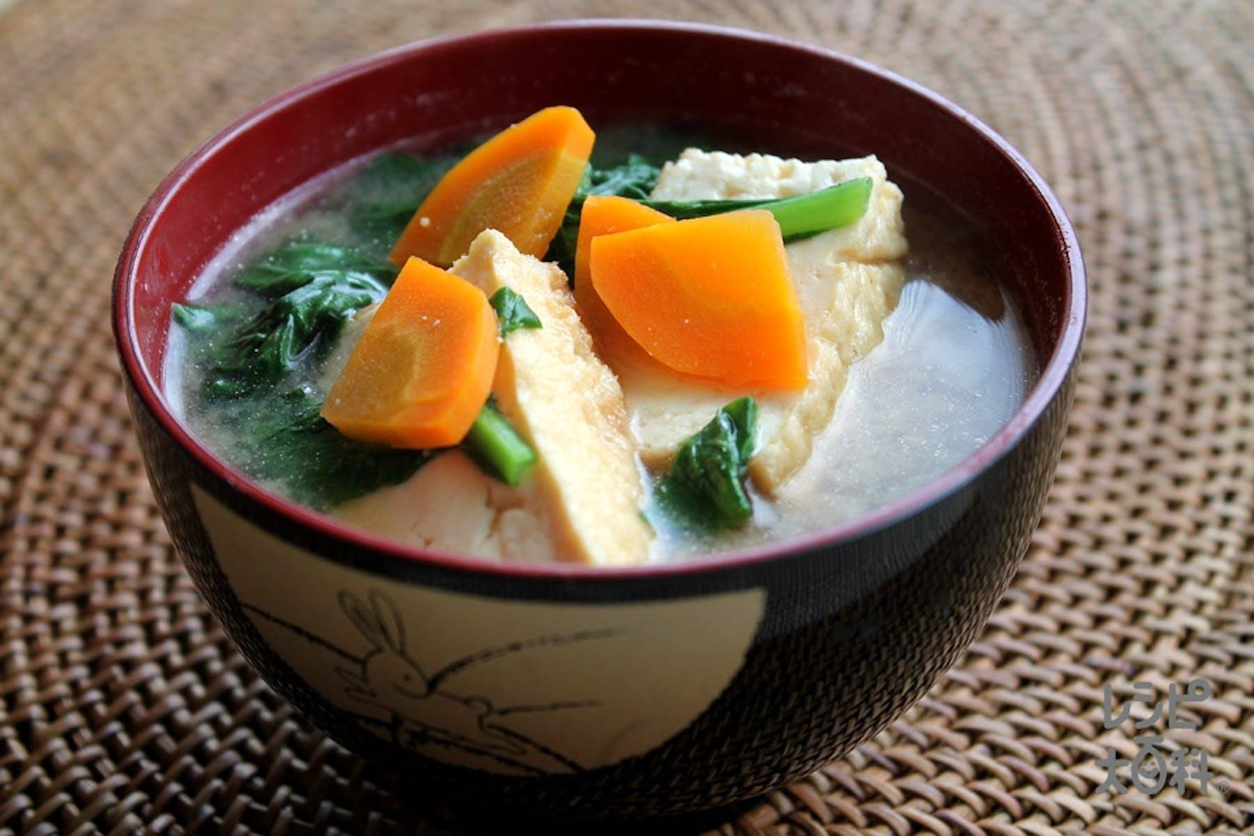小松菜と厚揚げのみそ汁