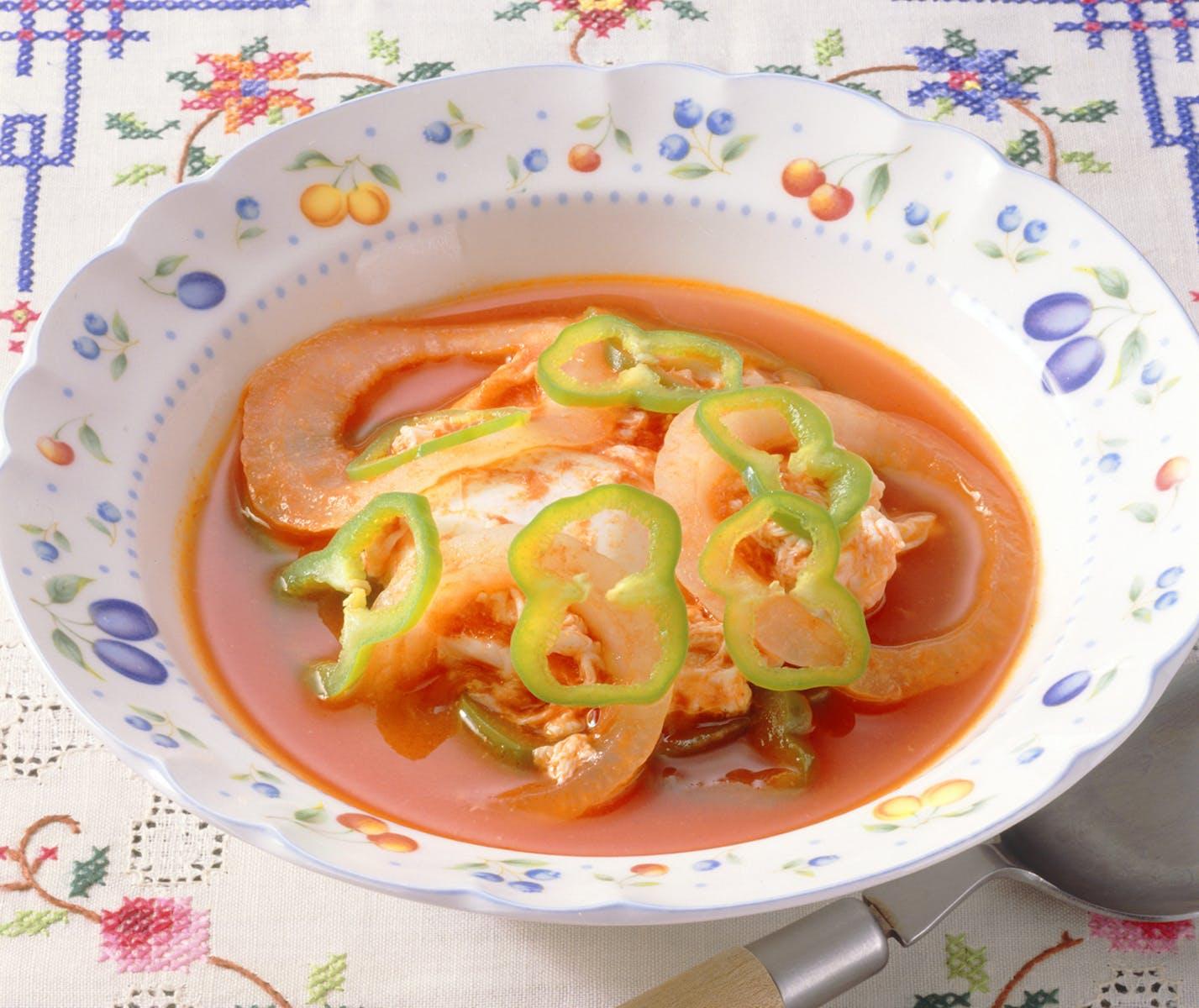 ポーチドエッグのトマトソース