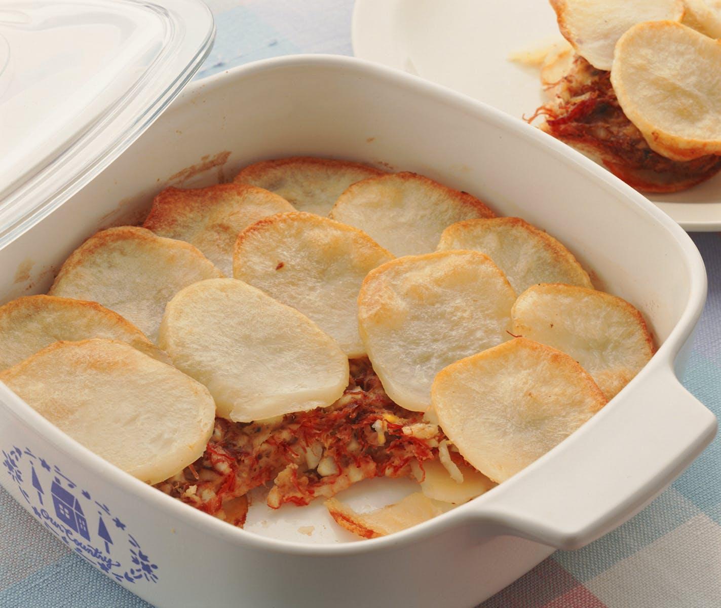 ポテトとコンビーフの重ね焼き
