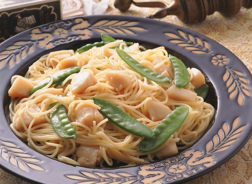 貝柱とさやえんどうのスパゲティ