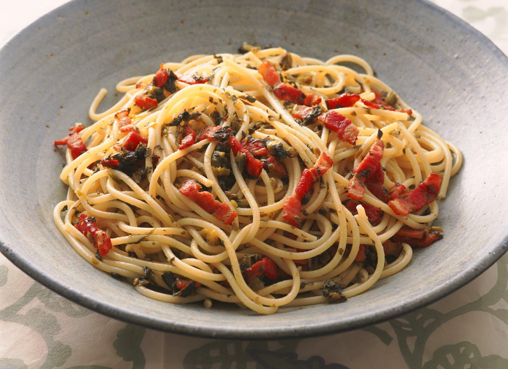高菜とベーコンのスパゲティ