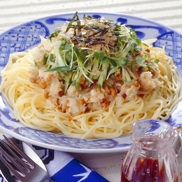 ツナとなっとうのスパゲティ