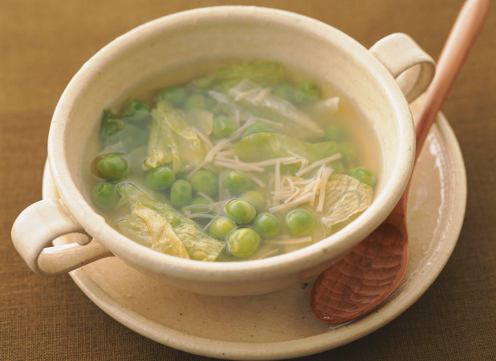 青豆とほたてのスープ