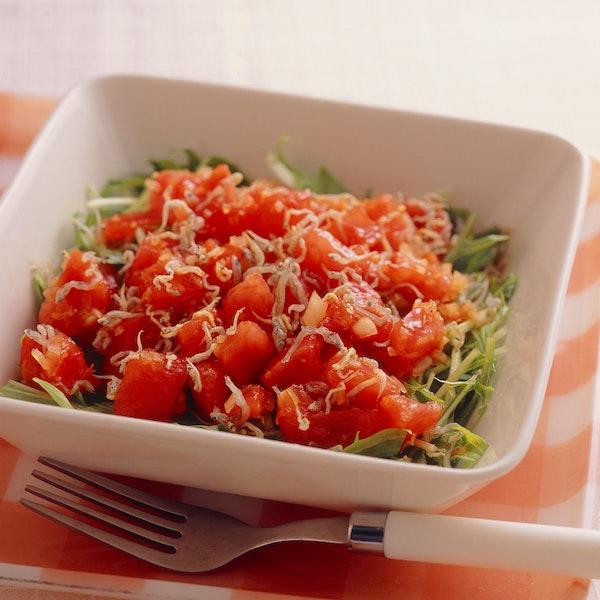 みず菜の和風サラダ トマトドレッシング