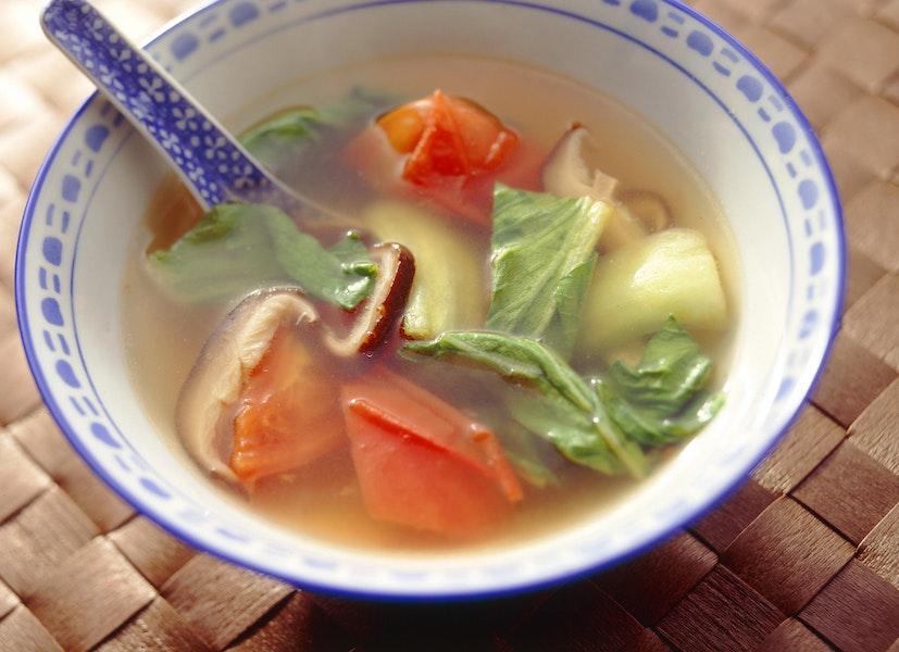 チンゲンサイとトマトのスープ