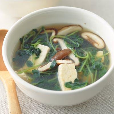 豆苗ととうふのさっぱりスープ
