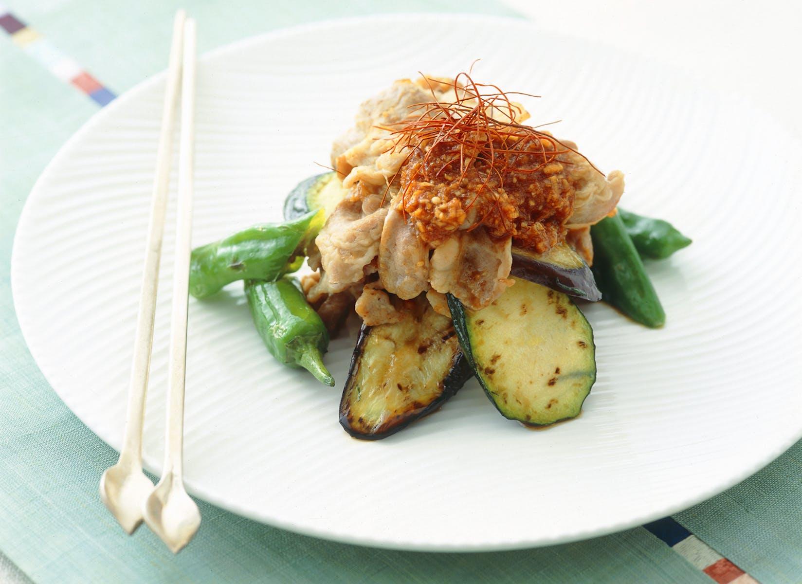 豚肉と夏野菜のグリル 韓国だれ
