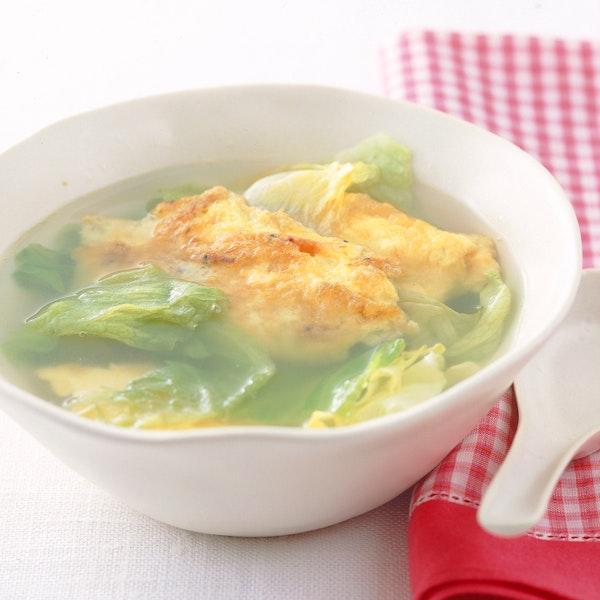 焼き卵とレタスのスープ