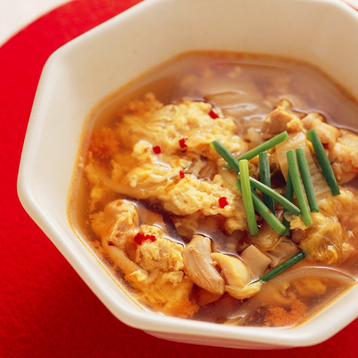 とり肉とキムチのスープ