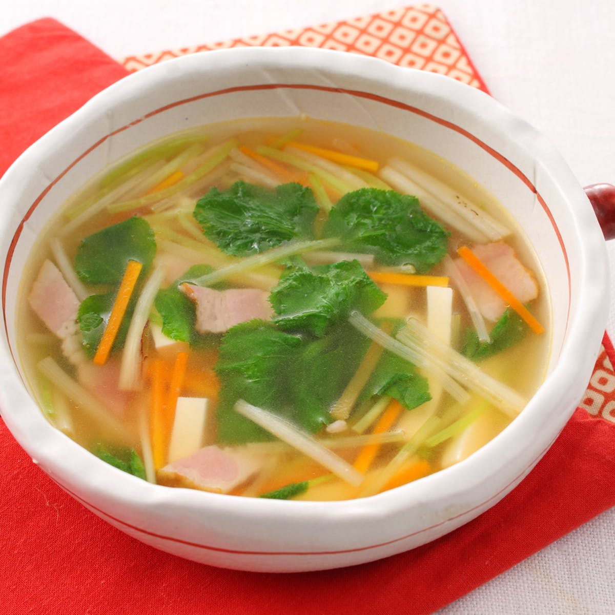 根みつばととうふのスープ