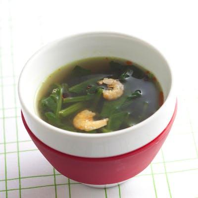 ほうれんそうと干しえびのピリ辛スープ
