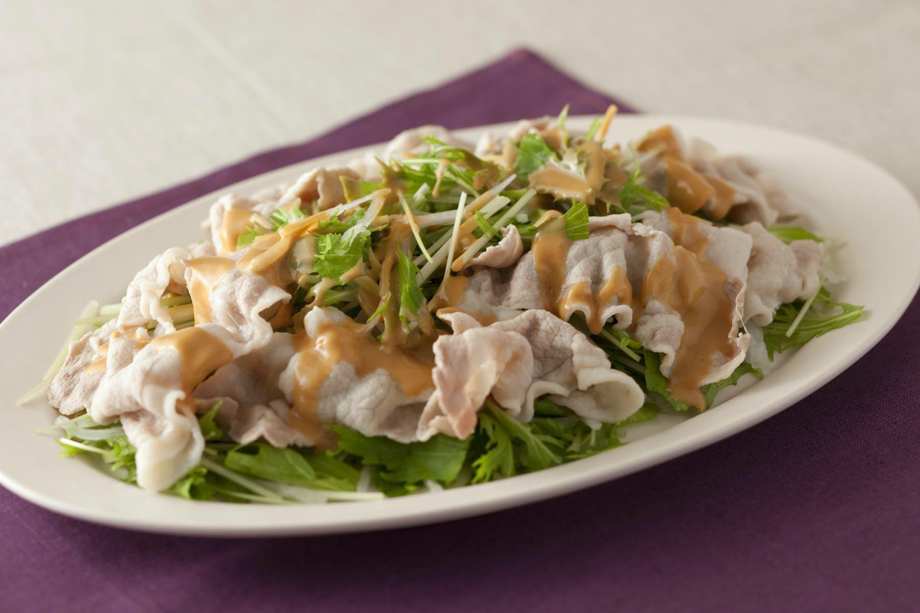 水菜としゃぶしゃぶ肉のバンバンジーソース