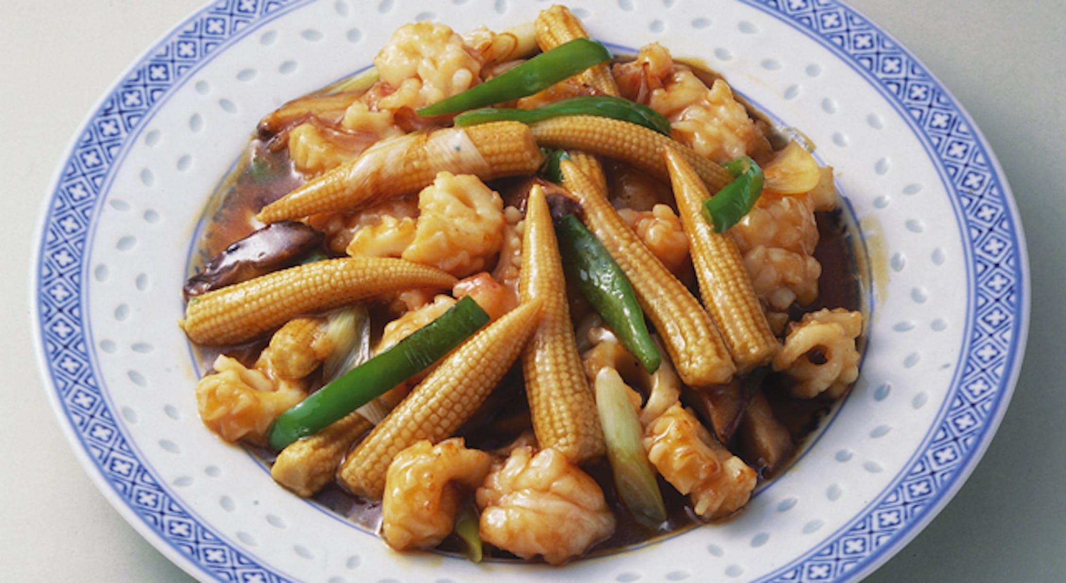 えびとヤングコーンの炒め物