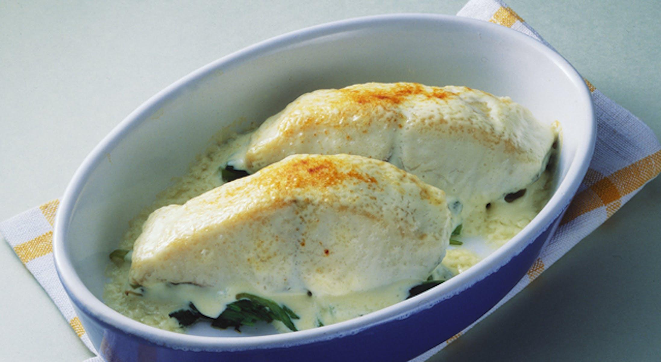 白身魚のマヨネーズ風味グラタン