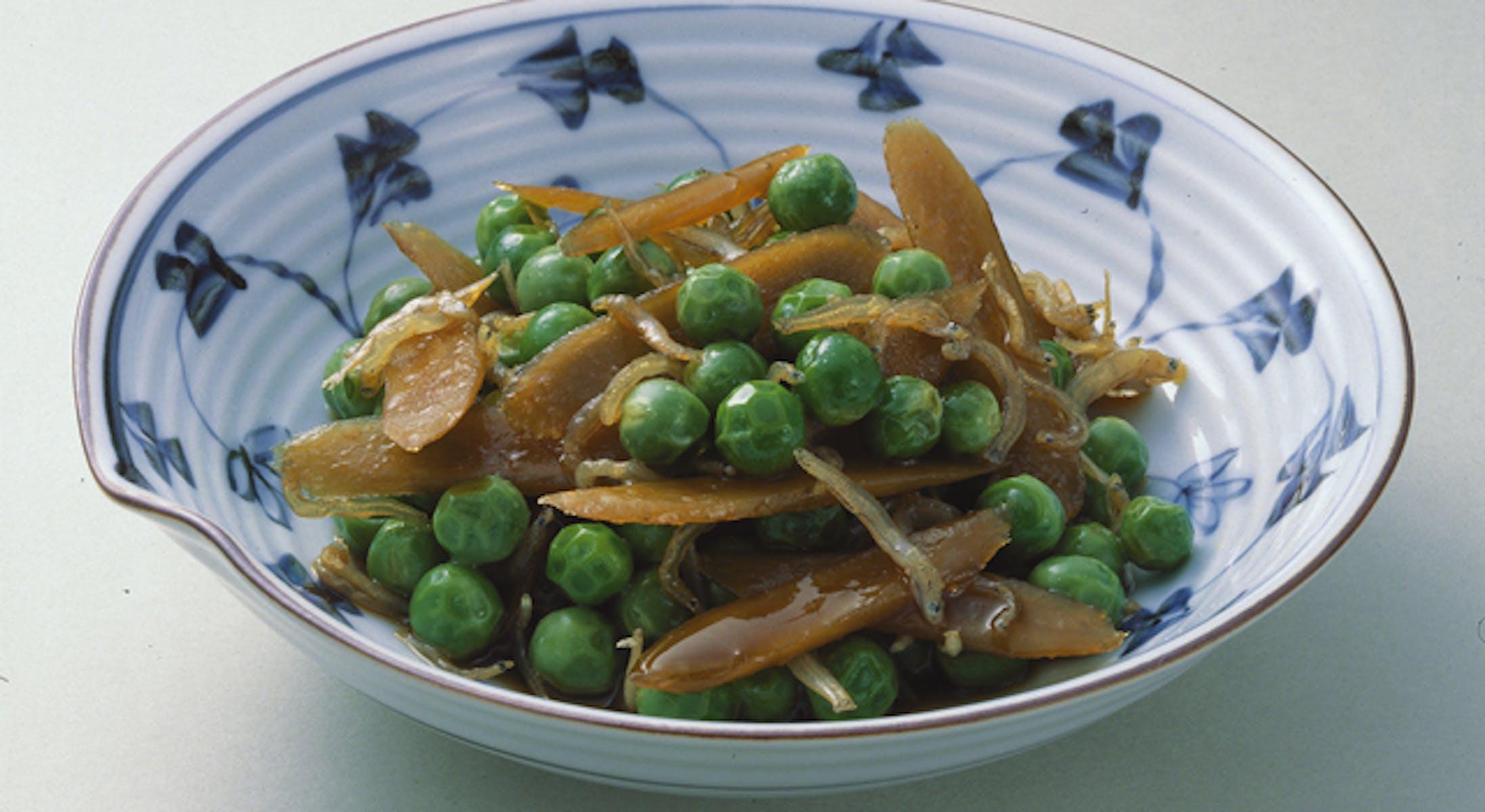 えんどう豆とごぼうの当座煮