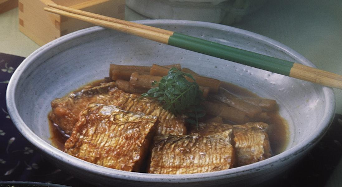 ごぼうと太刀魚の揚げ煮