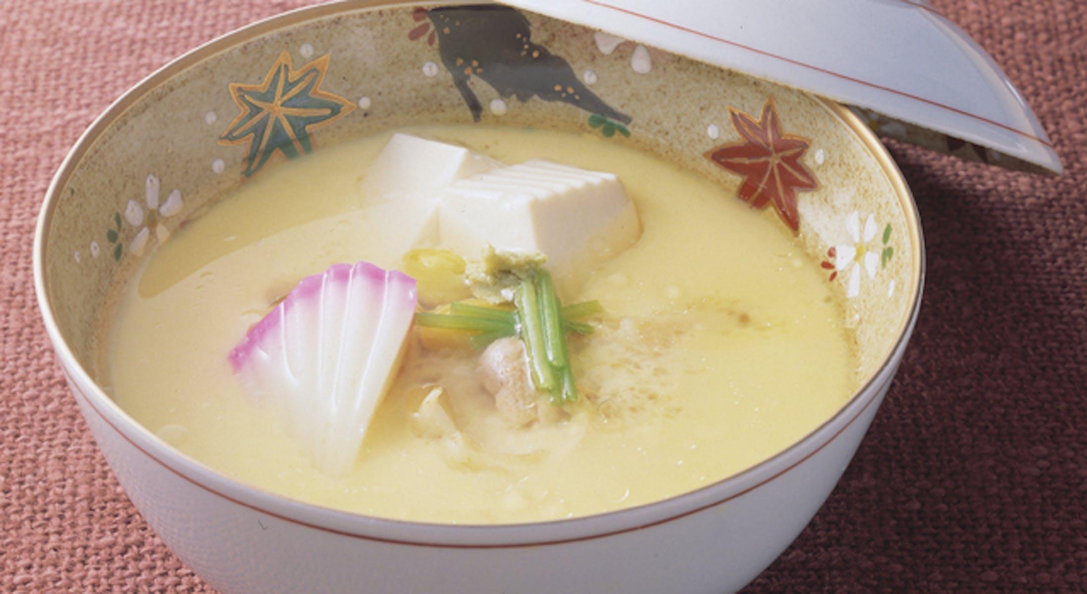 鶏肉の豆腐茶碗蒸し