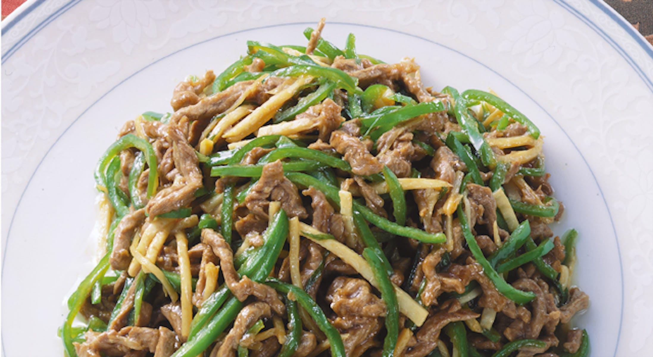 牛肉とピーマンの細切り炒め(青椒肉絲(チンジャオロース))
