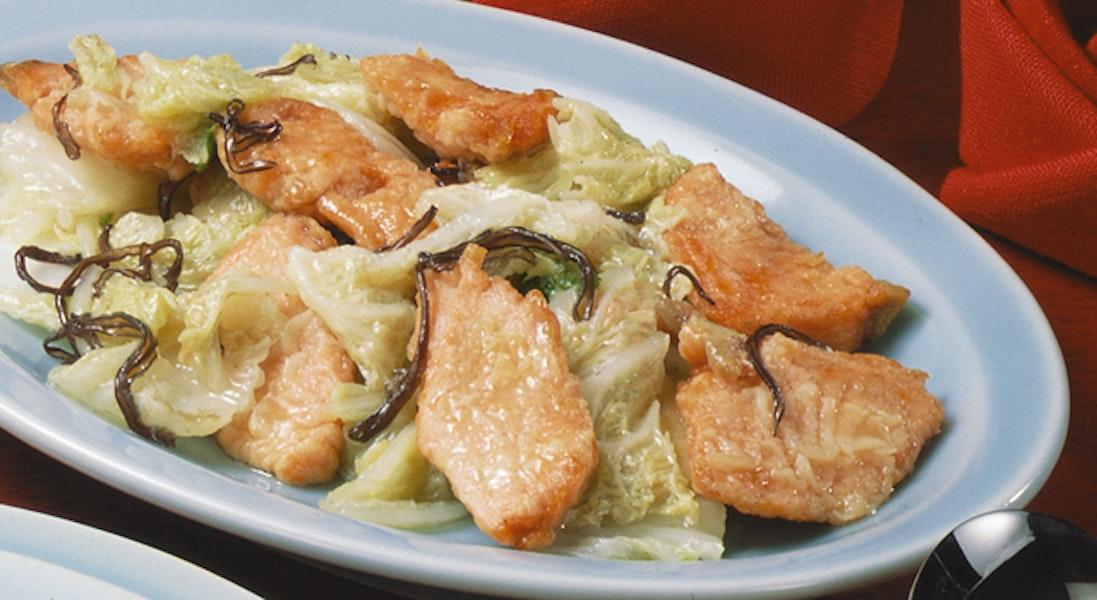 鮭と白菜の炒め物