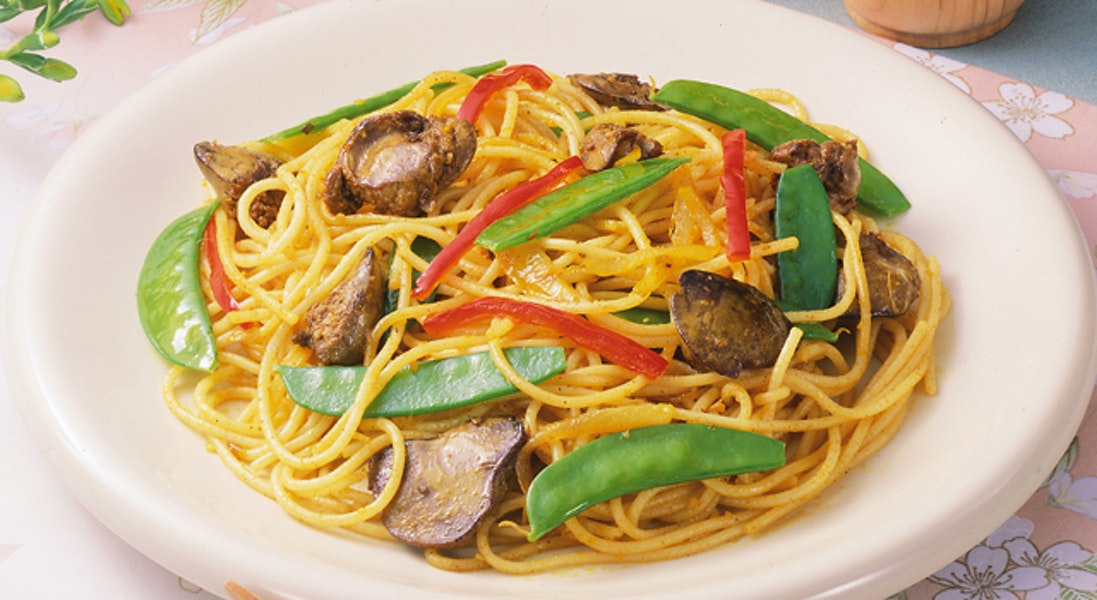 鶏レバーのカレースパゲッティ