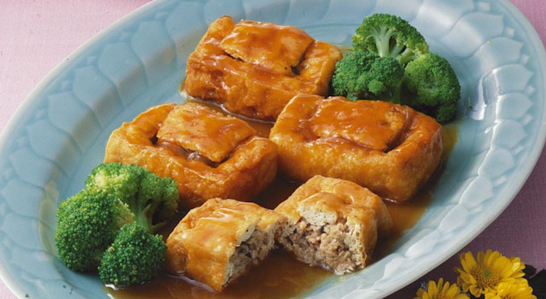 揚げ豆腐のひき肉詰め煮