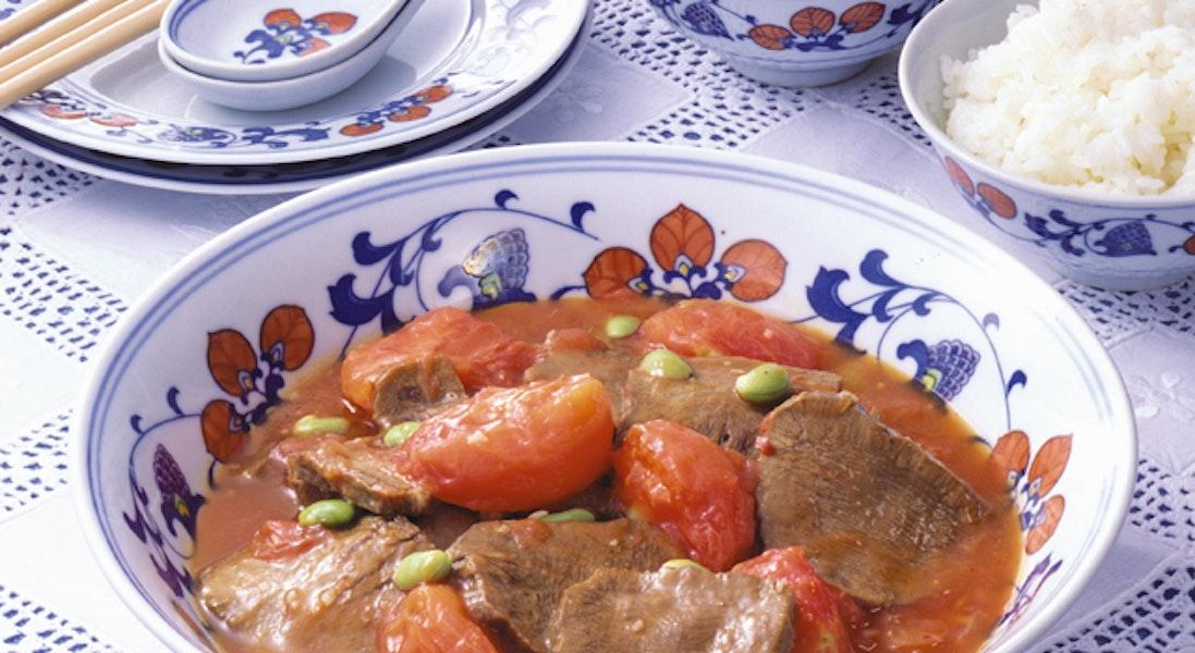 牛タンの中華風トマト煮込み