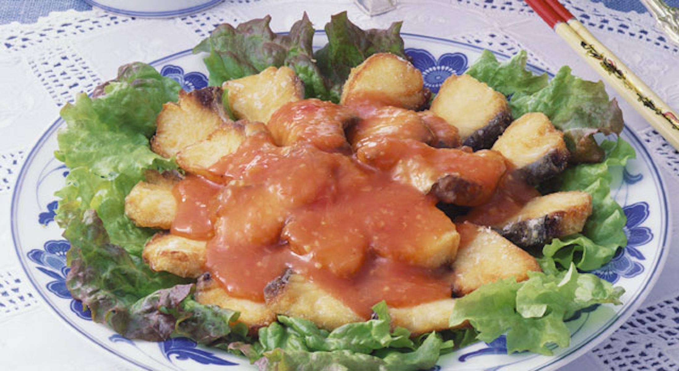 揚げ魚のトマトあんかけ