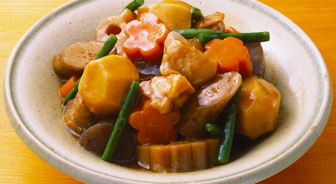 鶏肉と根菜の炒り煮
