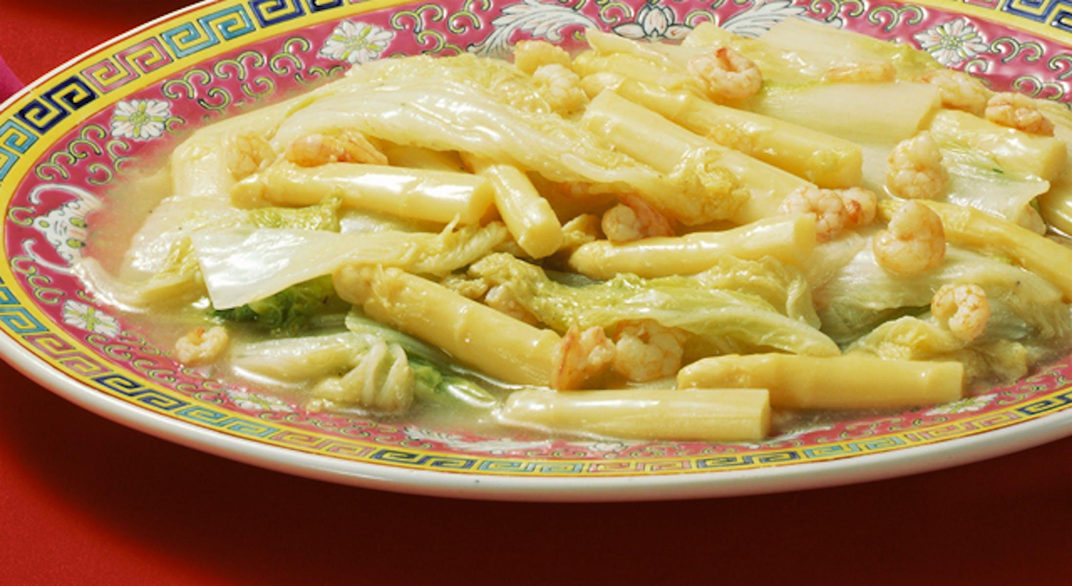 白菜とアスパラガスの炒め煮