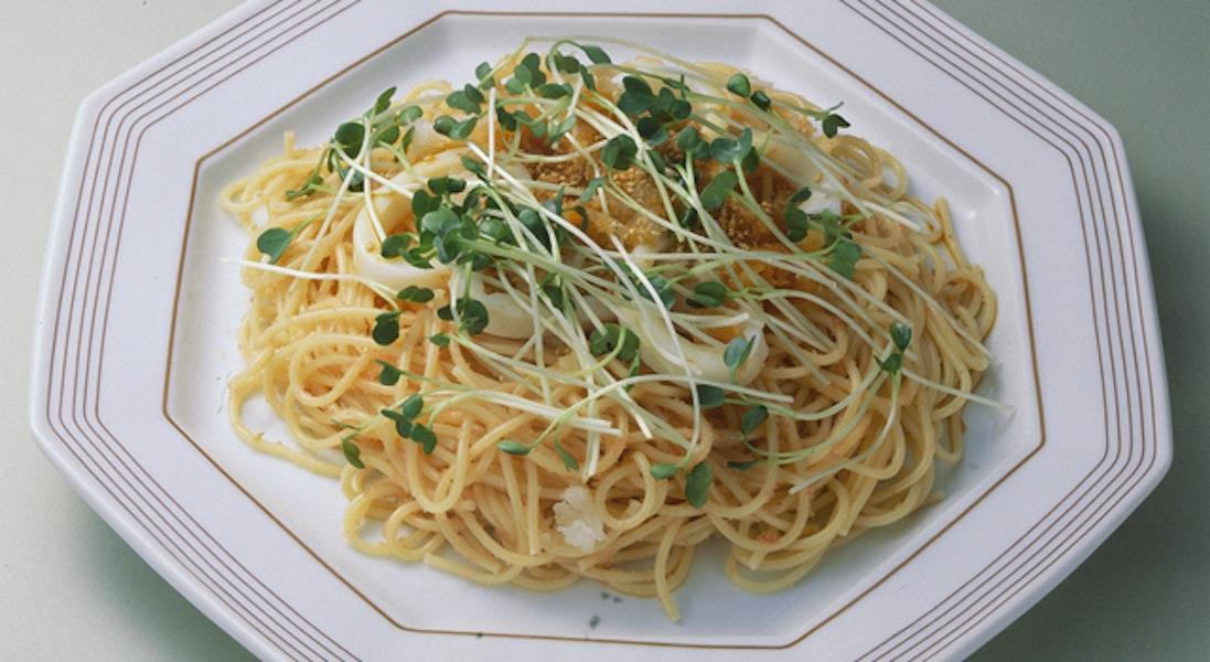 かいわれ菜とたらこのスパゲッティ