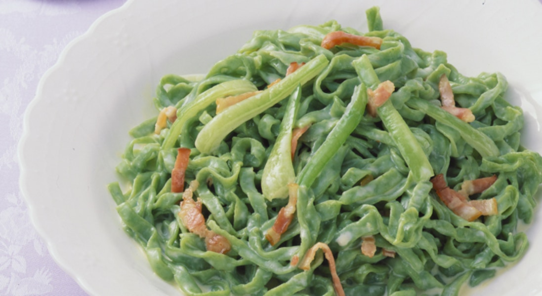 チンゲン菜の手打ちスパゲッティ