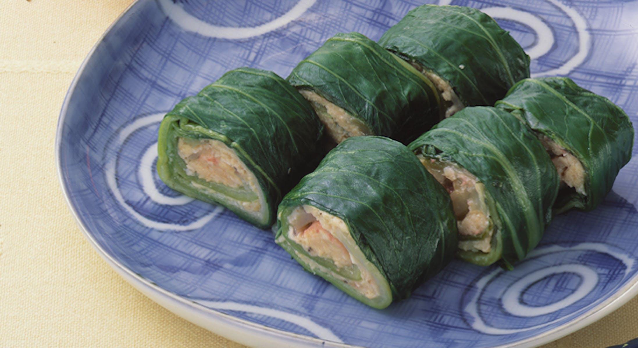 鶏肉のチンゲン菜巻き・梅風味