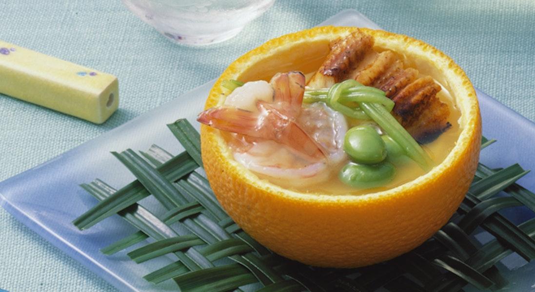 オレンジ釜の卵豆腐