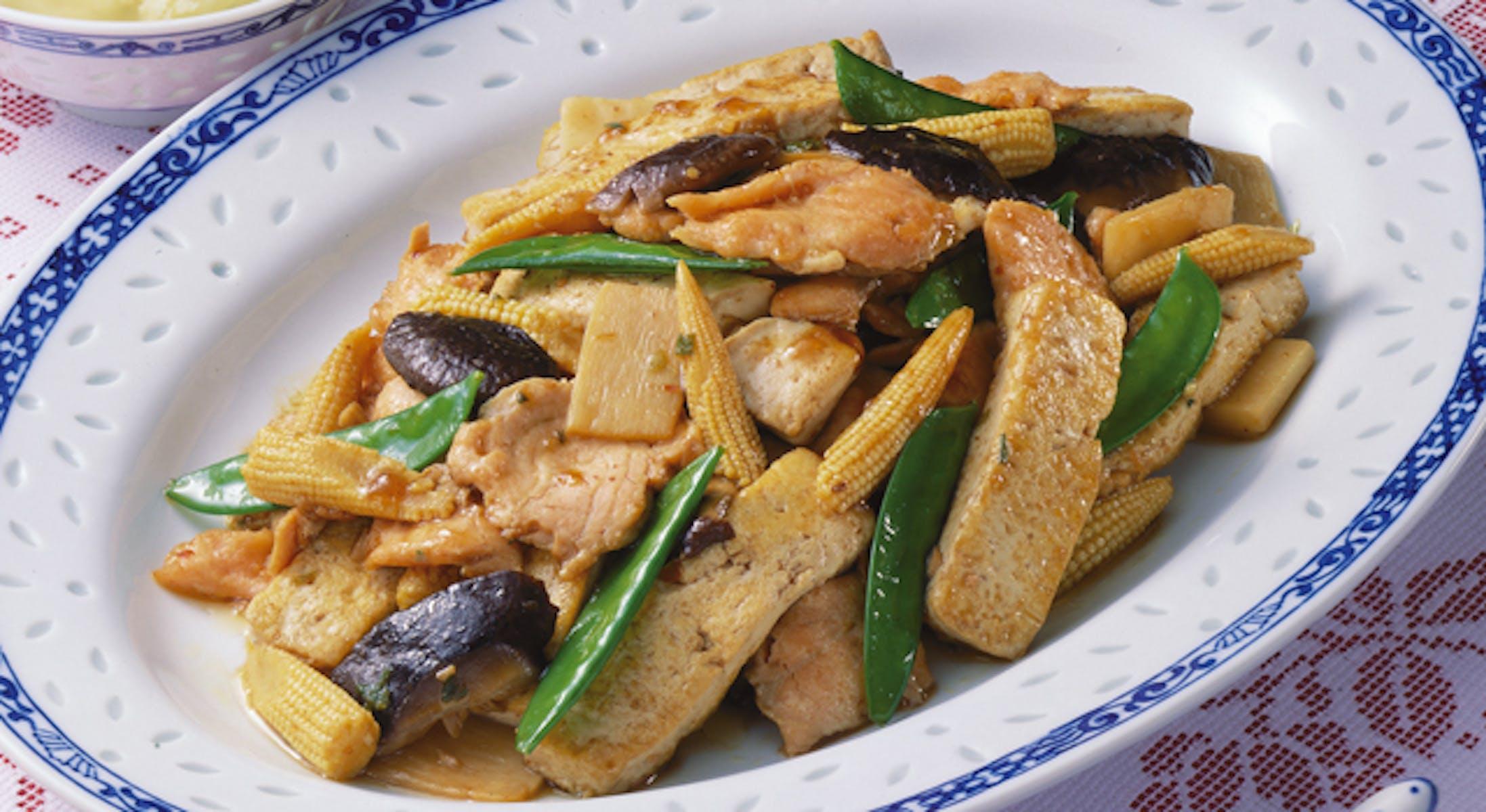 ますと豆腐の辛味炒め