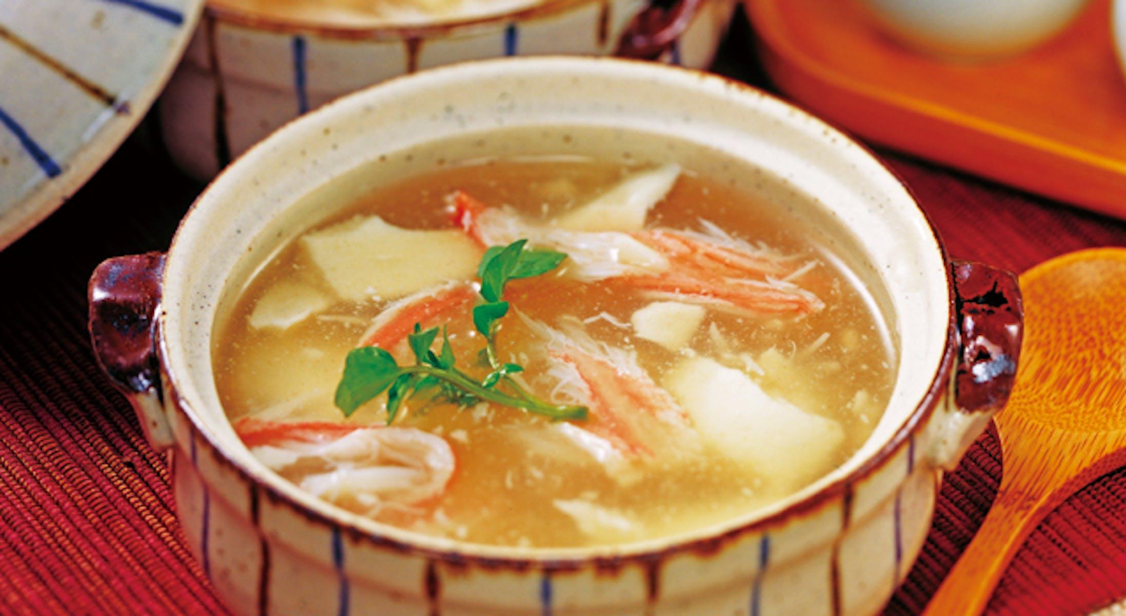 かにとくずし豆腐のスープ