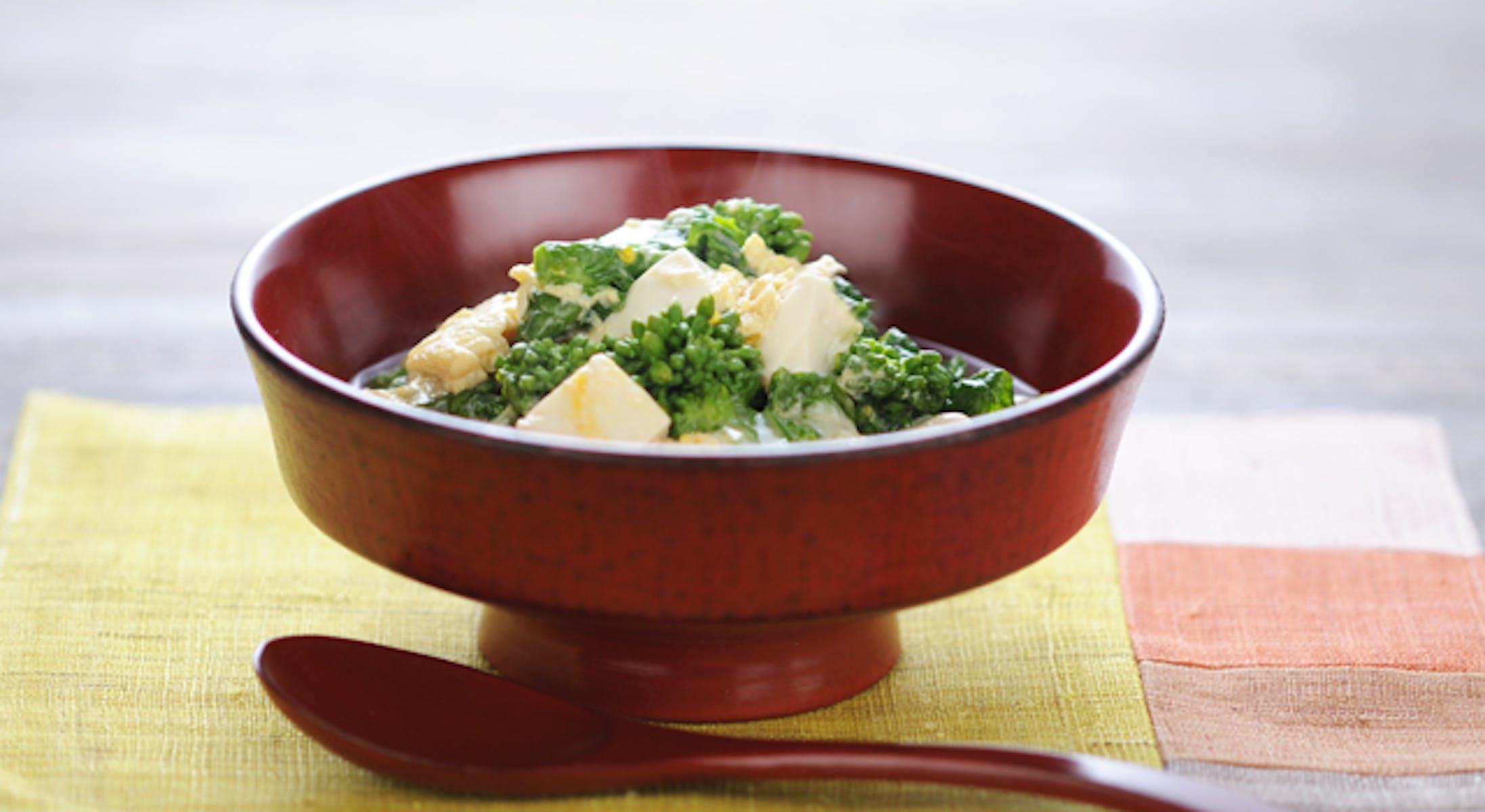 豆腐と菜の花の卵とじ