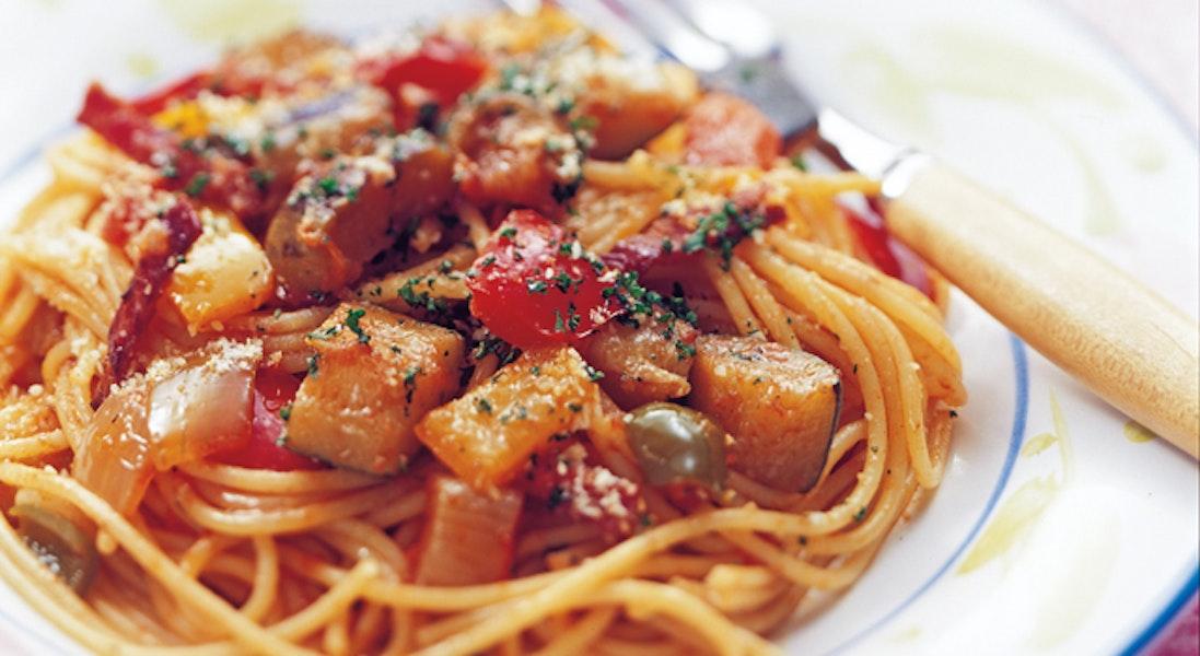 彩り野菜たっぷりスパゲッティ