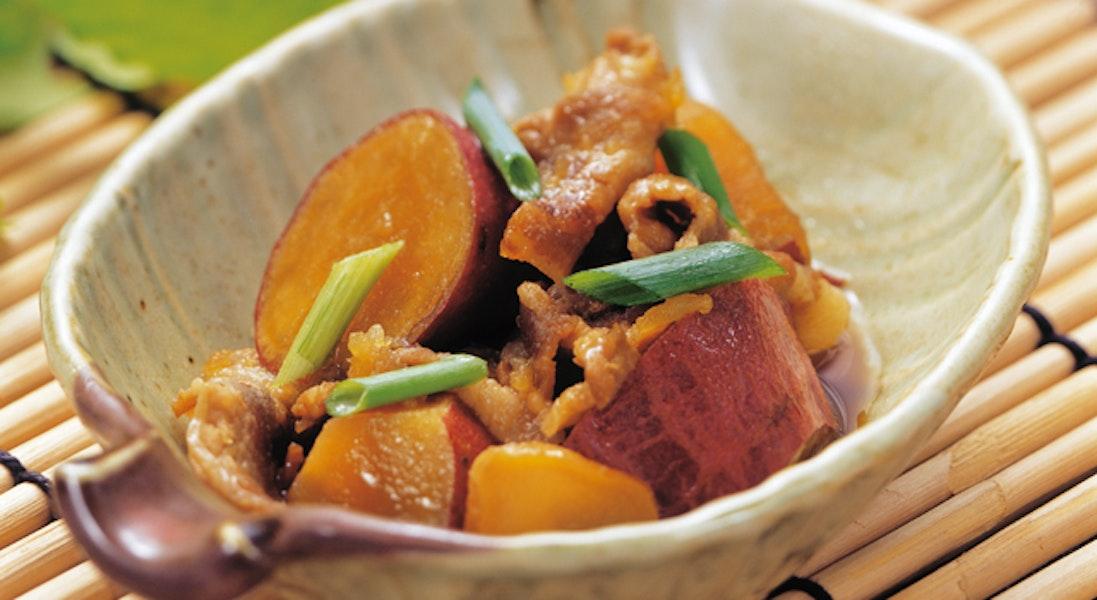 圧力鍋でさつまいもと豚肉の甘辛煮