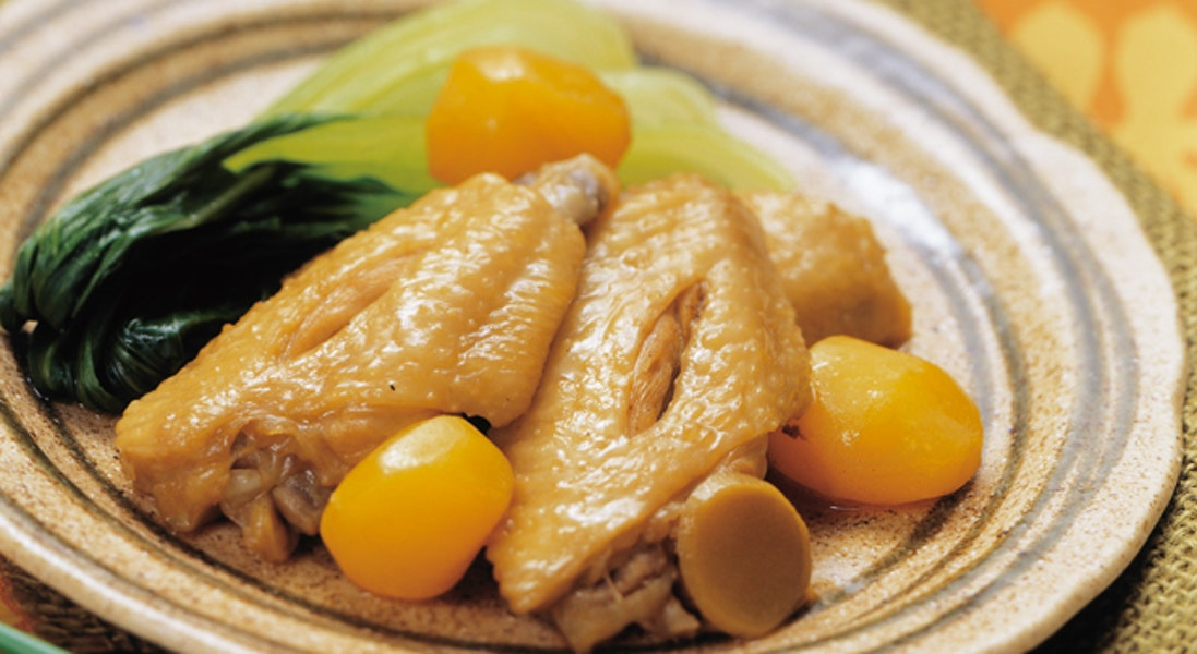 圧力鍋で鶏手羽先と栗のオイスターソース煮