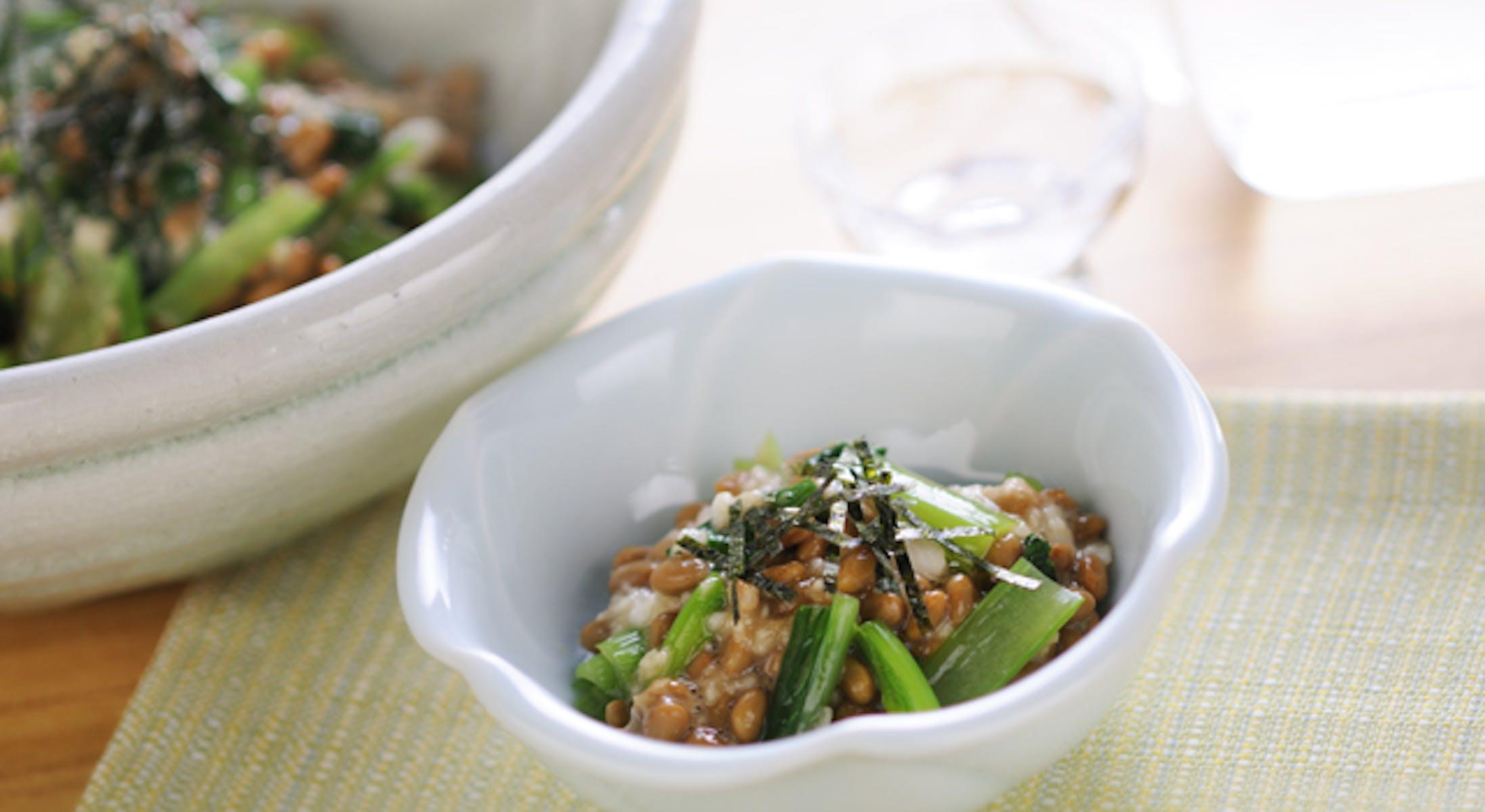 小松菜と長いもの納豆和え
