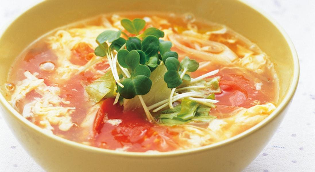 トマトとザーサイのかき玉スープ