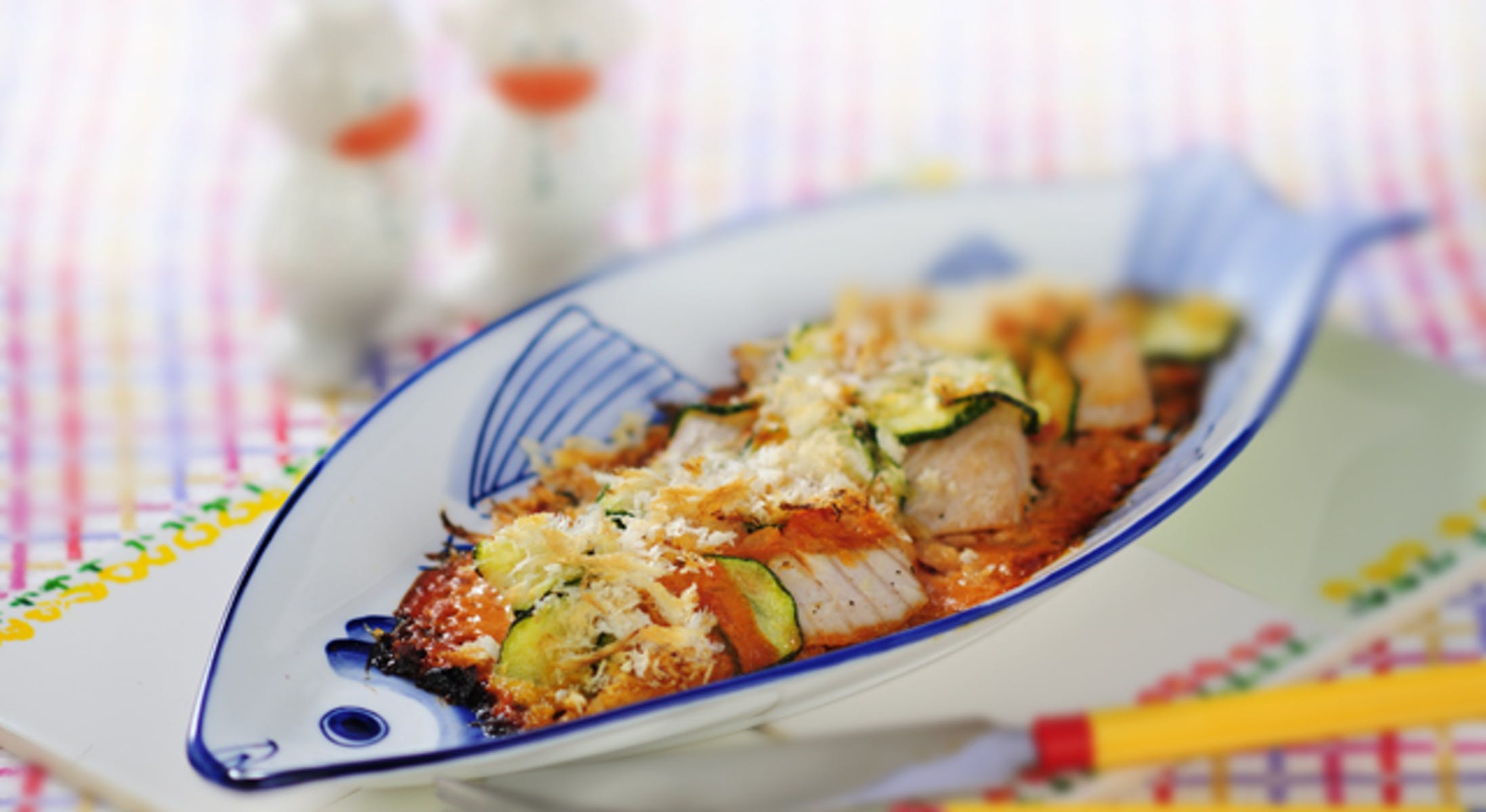 かじきと夏野菜のトマトクリーム焼き