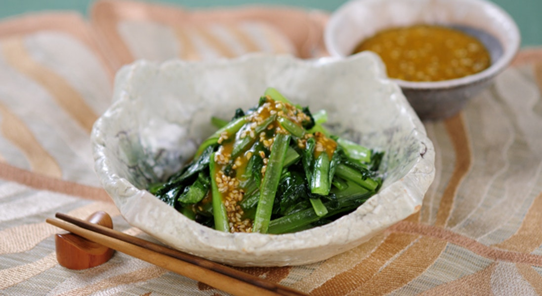 小松菜のマスタードソースがけ