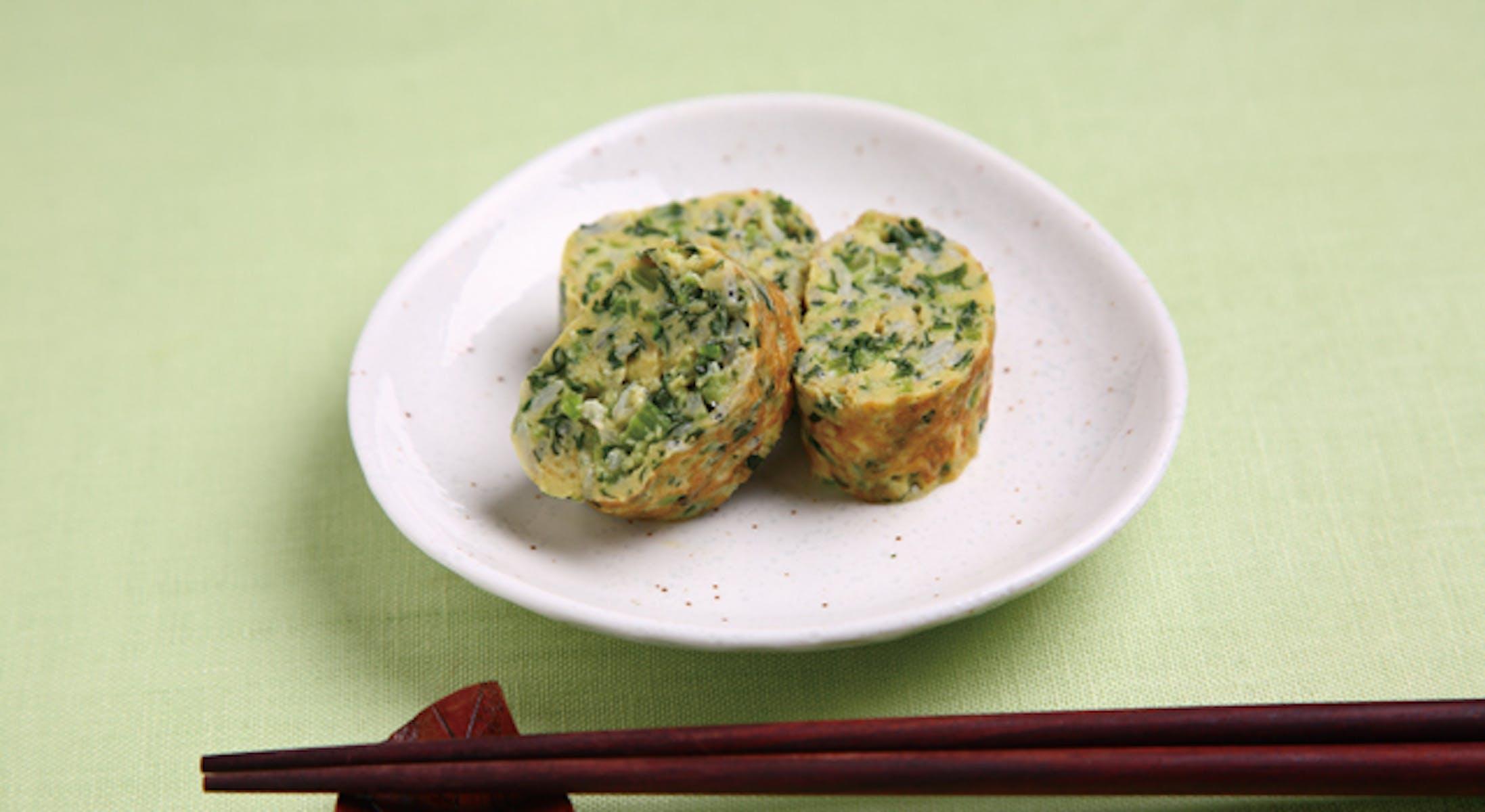 小松菜としらす干しの卵焼き