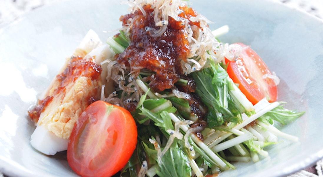 水菜とカリカリじゃこのサラダ
