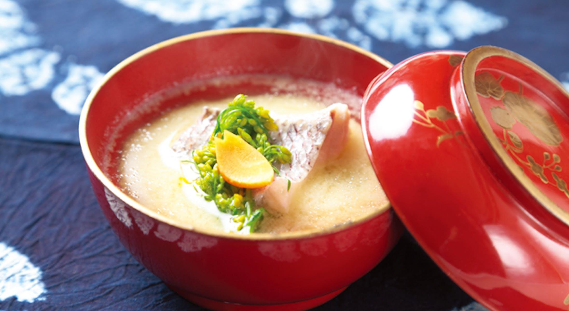 鯛と菜の花の白みそ汁